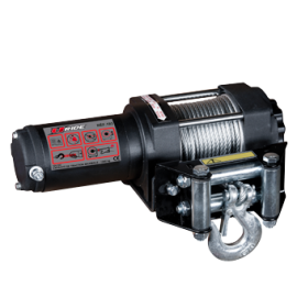 Winch for quad or SSV with control on the handlebar